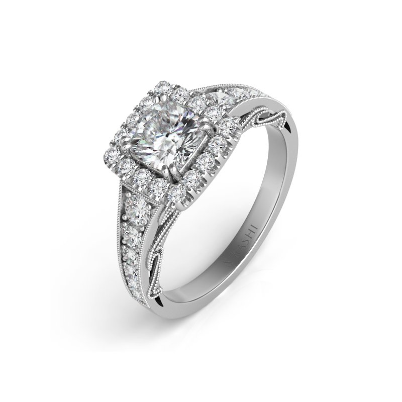 S. Kashi & Sons Bridal Platinum Halo Ring
