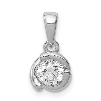 Sterling Silver Rhodium-plated Polished w/ CZ Pendant