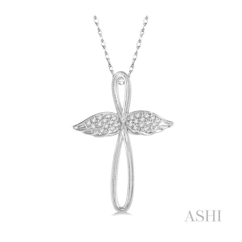 ASHI diamond angel wings cross pendant