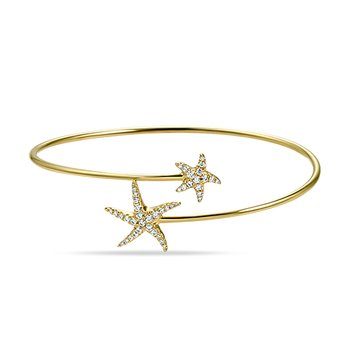 beautiful 14K flexible starfish bangle with 41 diamonds 0.33ct tw
