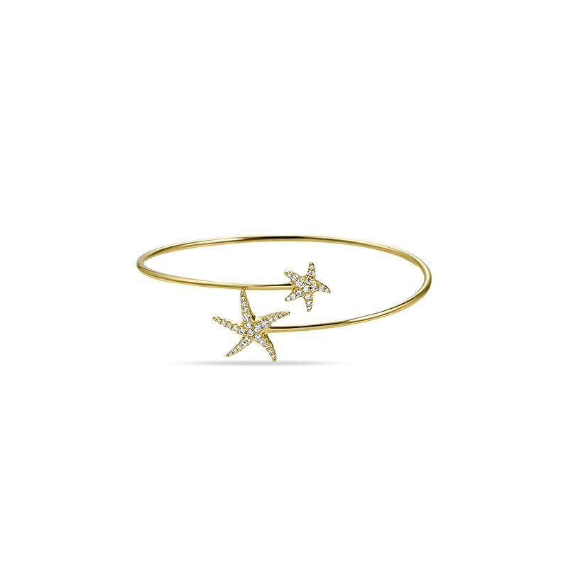 Shula NY beautiful 14K flexible starfish bangle with 41 diamonds 0.33ct tw