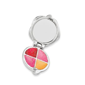 Sterling Silver Enameled Swarovski Compact w/Lobster Clasp Charm