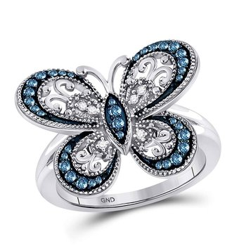 10kt White Gold Womens Round Blue Color Enhanced Diamond Butterfly Bug Ring 1/3 Cttw