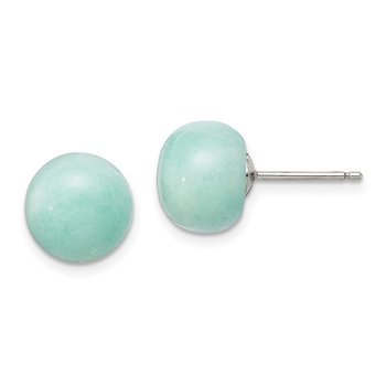 Sterling Silver 10-11mm Button Amazonite Post Earrings
