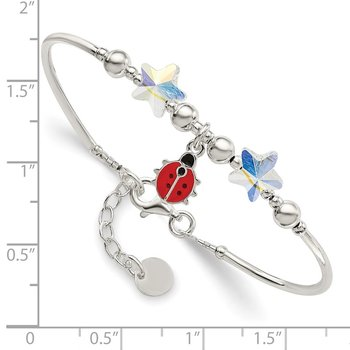 SS Children's Enamel Swarovski Elements w/3/4 Ext Bracelet