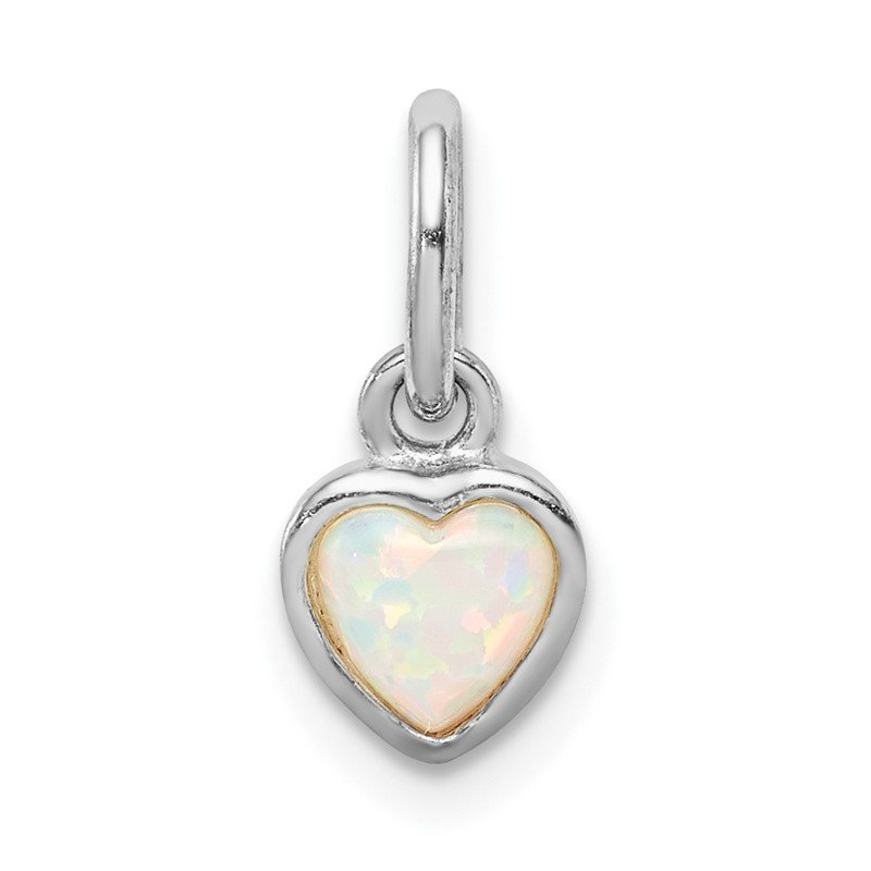 Quality Gold Sterling Silver Rhodium Plated Lab Created Opal Heart Pendant