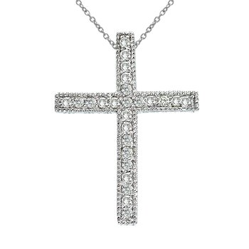 14K White Gold Large Scroll .25 Ct Diamond Cross Pendant