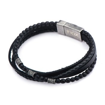 Multi Layered Black Leather and Black Hematite Beads Bracelet