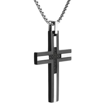 0.16 round-shape Diamond Black Ion Plated Stainless Steel Modern Cross Pendant - 24 Inch Box Chain