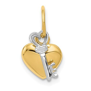 14K Two-tone Polished Moveable Key and Heart Lock Charm