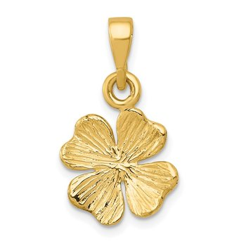 14k Gold Polished and Textured Four Leaf Clover Pendant