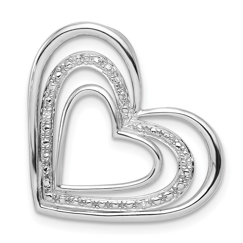 Quality Gold Sterling Silver Rhodium Plated Diamond Triple Heart Pendant