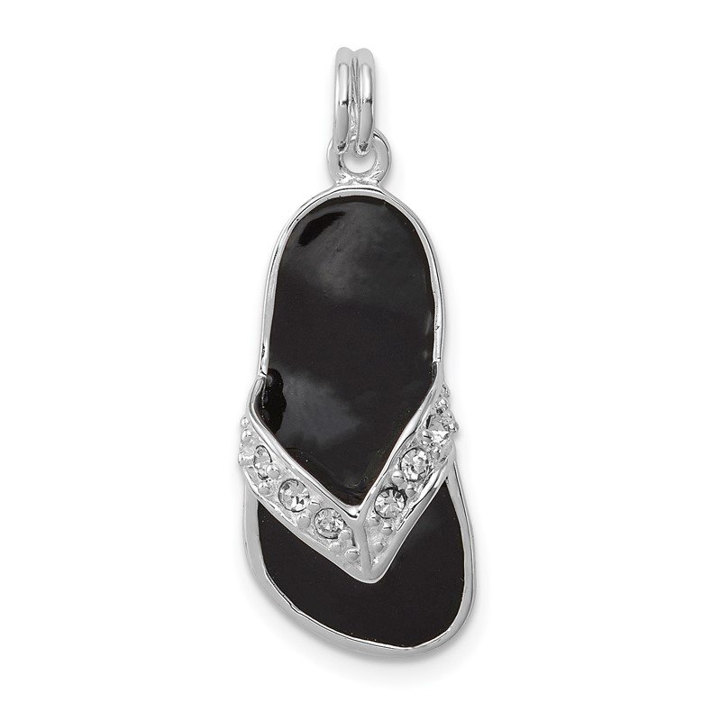 Quality Gold Sterling Silver Black Enameled CZ Flip Flop Charm