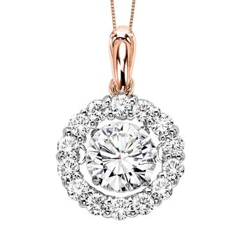 14KP Diamond Rythm Of Love Pendant 1 1/4 ctw (1 ct Center)