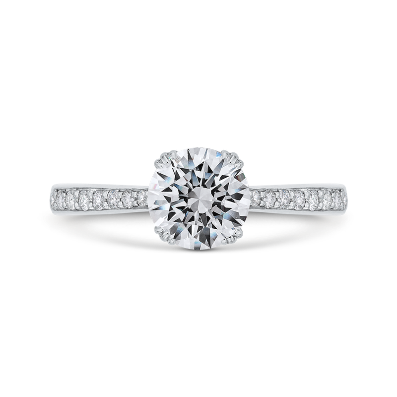 18K White Gold Diamond Engagement Ring with Euro Shank (Semi-Mount)