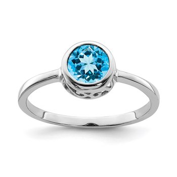 Sterling Silver Rhodium-plated Polished Blue Topaz Round Ring