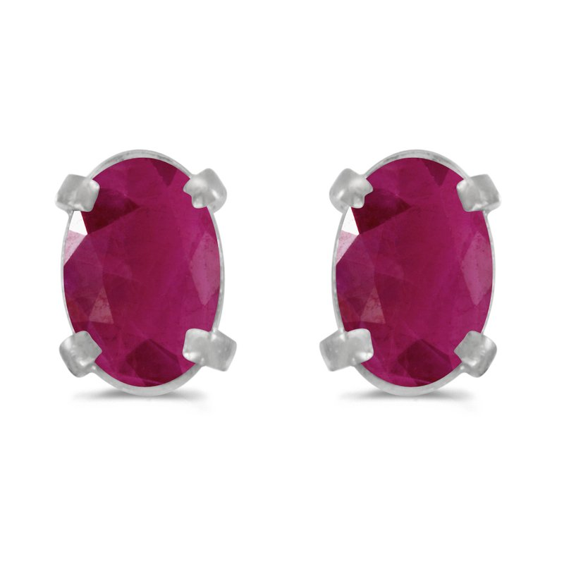 Color Merchants 14k White Gold Oval Ruby Earrings