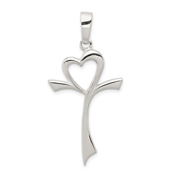 Sterling Silver Polished Heart Cross