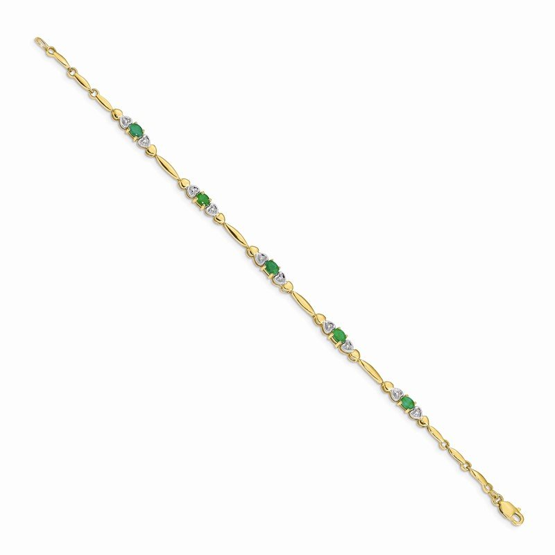 Quality Gold 14k White Gold Diamond and Emerald Bracelet