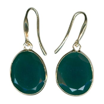 Green Agate Single Drop Earrings