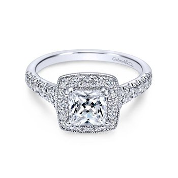 14k White Gold Pave Shank and Princess Cut Diamond Halo Engagement Ring