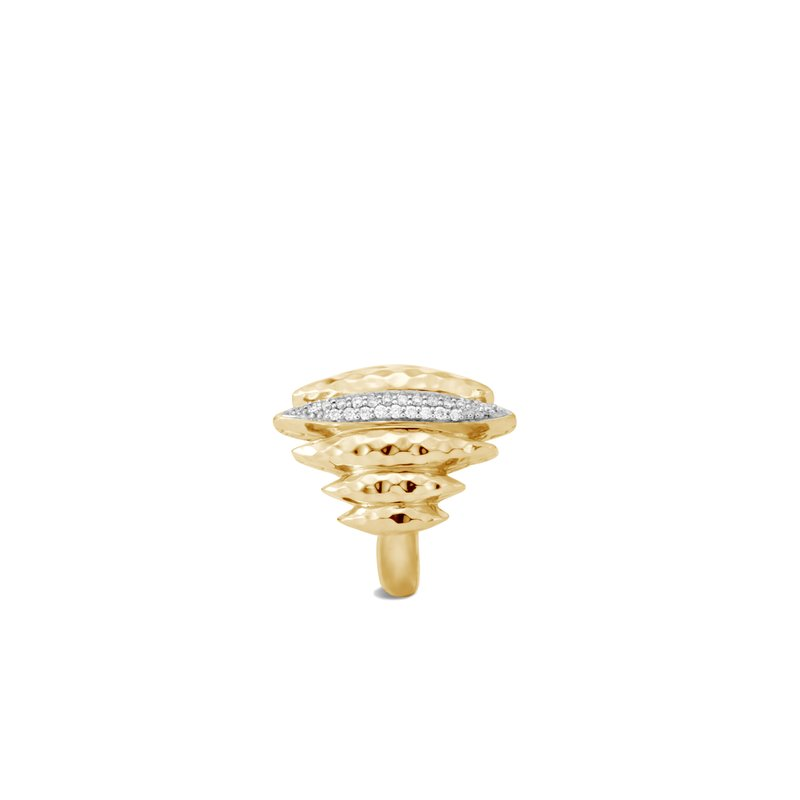 JOHN HARDY Classic Chain Spear Ring in Hammered 18K Gold with Diamonds
