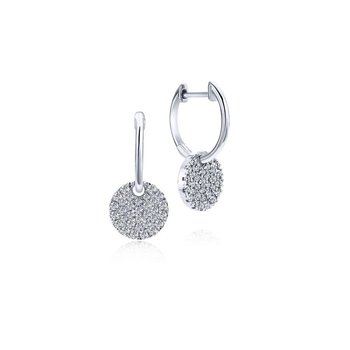 14K White Gold Diamond Pavé Disc Drop Earrings