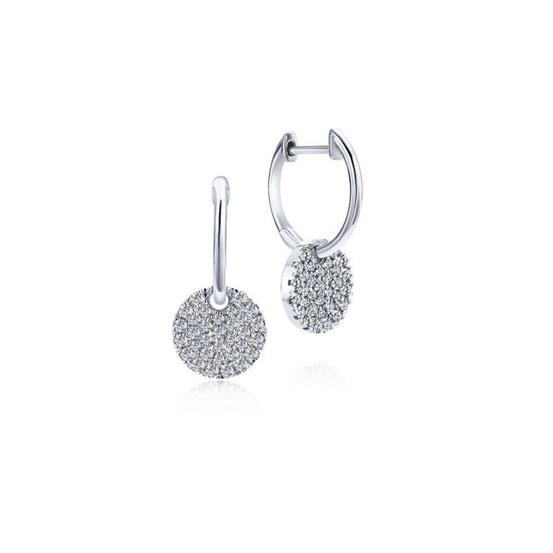 Gabriel Fashion 14K White Gold Diamond Pavé Disc Drop Earrings