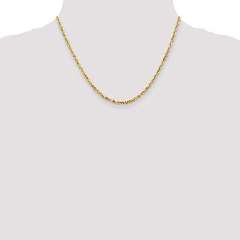 Quality Gold 10k 2.75mm Extra-Light D/C Rope Chain