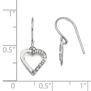14k White Gold Diamond Fascination Heart Earrings