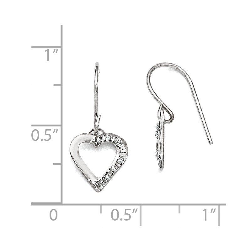 Quality Gold 14k White Gold Diamond Fascination Heart Earrings