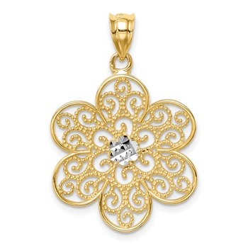 14K and White Rhodium Polished & Diamond-cut Flower Pendant