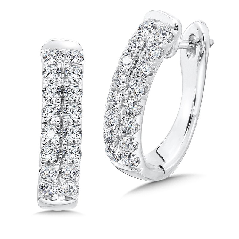 SDC Creations Double Row Prong set Diamond Oval Hoops in 14k White Gold (2.00 ct. tw.)