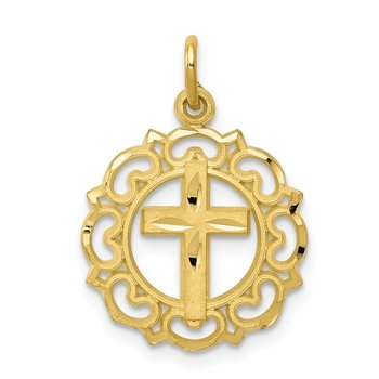 10K Cross In Frame Charm