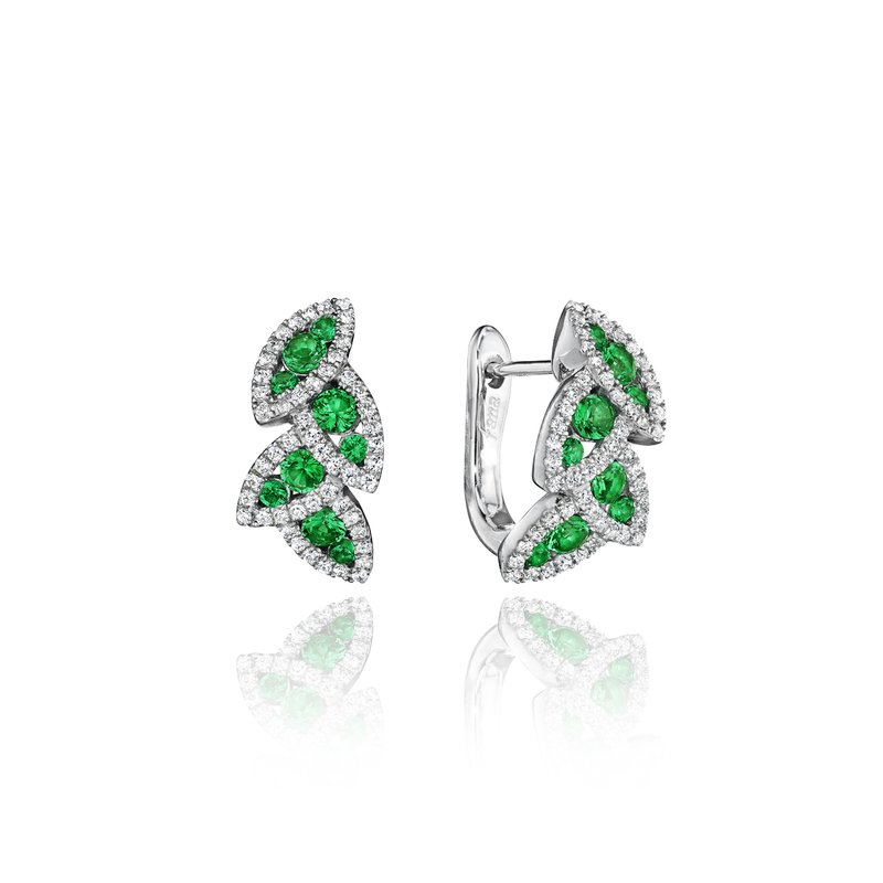 Fana Glam Galore Dramatic Emerald and Diamond Leaf Earrings