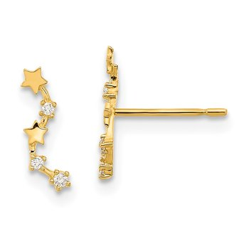 14k Madi K Curved Stars CZ Post Dangle Earrings