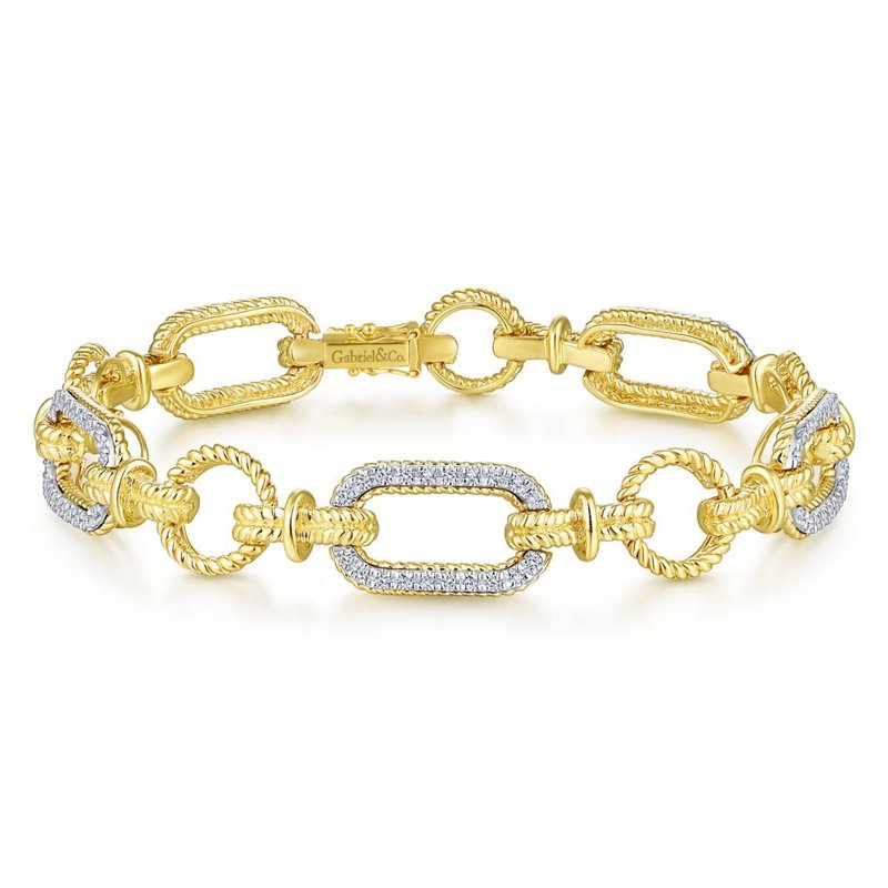Gabriel Fashion 14K Yellow and White Gold Diamond Bracelet with Alternating Links
