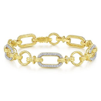 14K Yellow-White Gold Diamond Bracelet