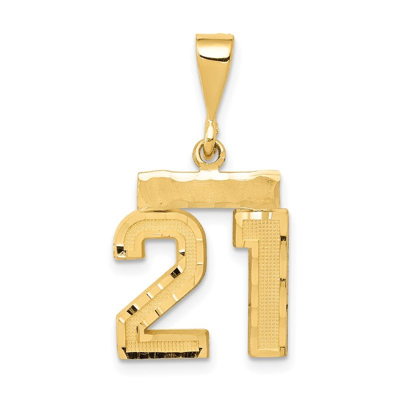 Quality Gold 14k Small Diamond-cut Number 21 Charm