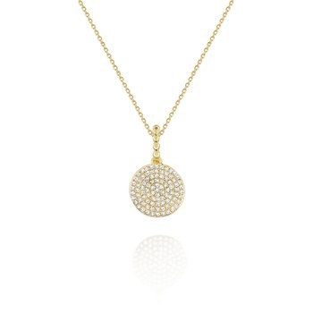 14K Gold and Diamond Disc Pendant