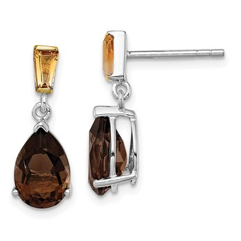 SS & 14k True Two-tone Accent Smoky Quartz and Citrine Earrings