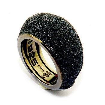 Small Dome Polvere Di Sogni Ring - Dark Gray Polvere & Ruthenium
