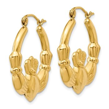 14k Polished Claddagh Hoop Earrings