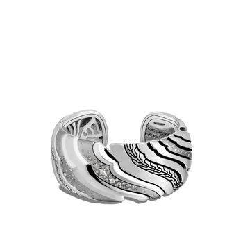 Lahar 31MM Kick Cuff in Silver with Diamonds