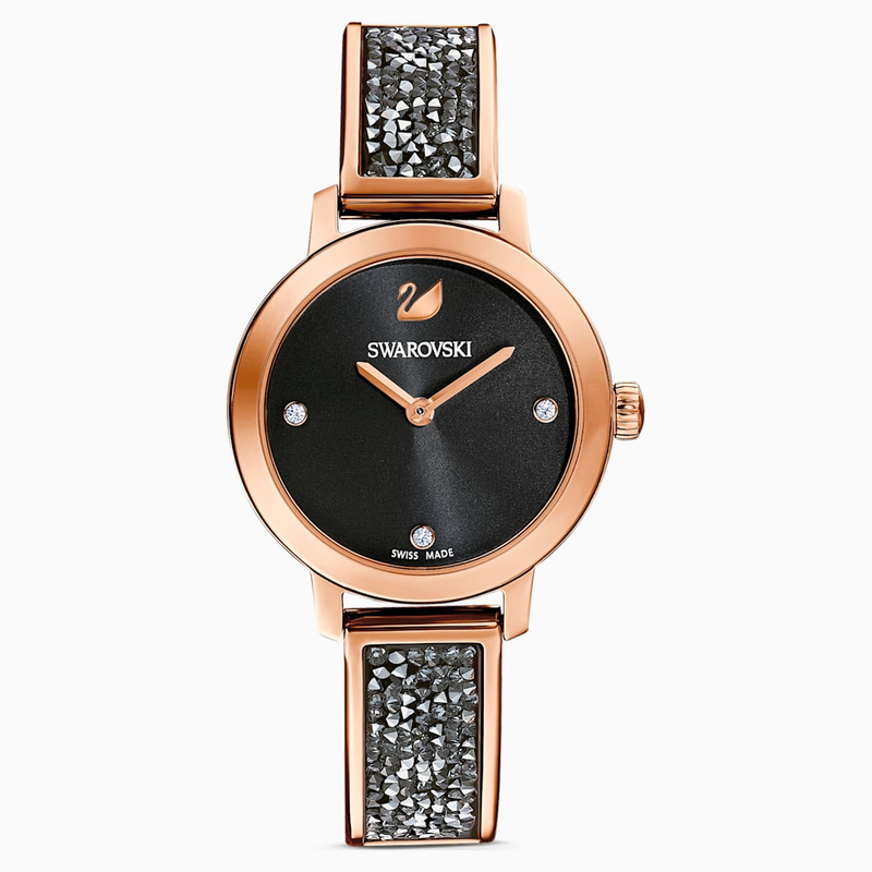 Swarovski Cosmic Rock Watch, Metal bracelet, Black, Rose-gold tone PVD