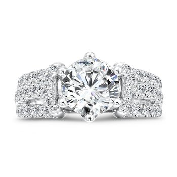 Six-Prong Engagement Ring With Diamond Side Stones in 14K White Gold with Platinum Head (2ct. tw.)