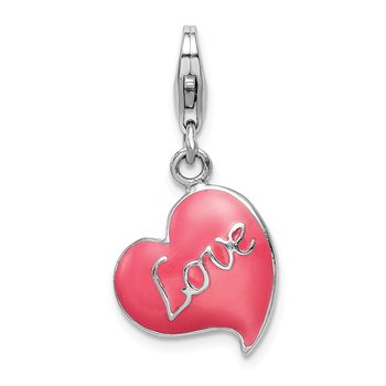 Sterling Silver 3-D Pink Enameled Heart w/Lobster Clasp Charm