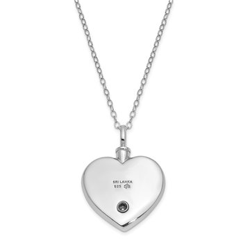 Sterling Silver CZ Antiqued Cherished Ash Holder 18in. Necklace