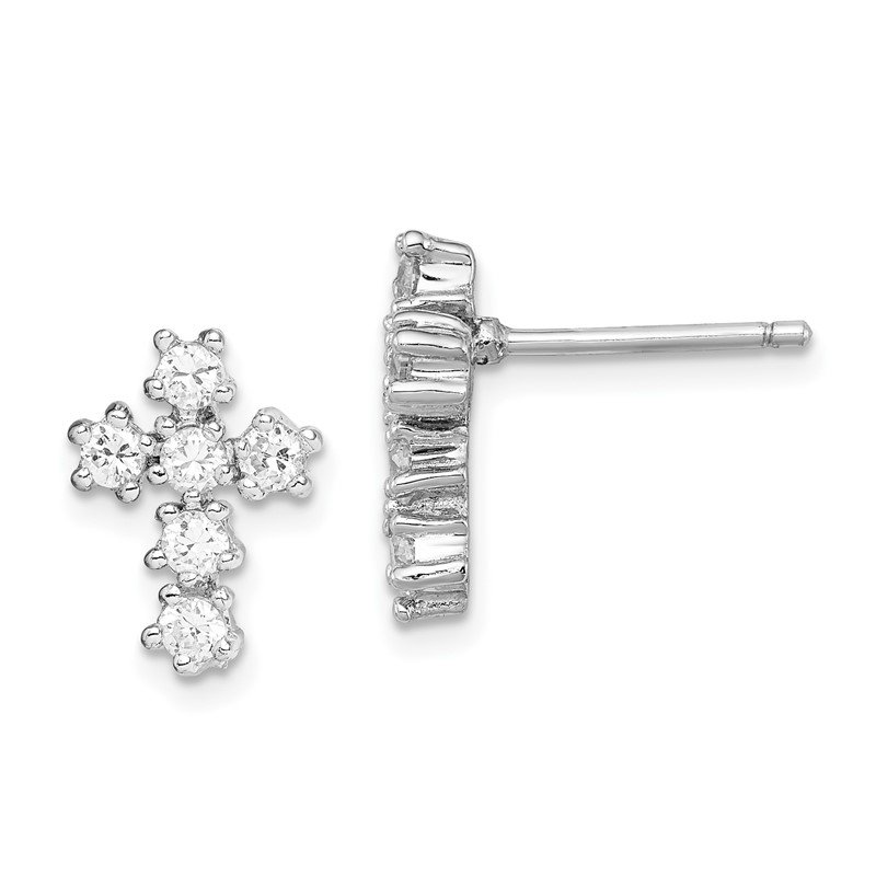 Quality Gold Sterling Silver Rhodium-plated CZ Cross Post Earrings