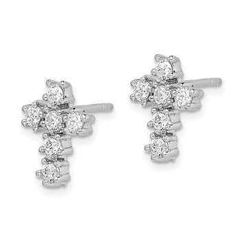 Sterling Silver Rhodium-plated CZ Cross Post Earrings